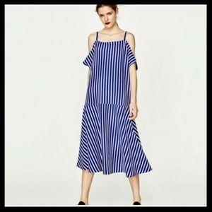 NWT Zara Striped Cold Shoulder Dress